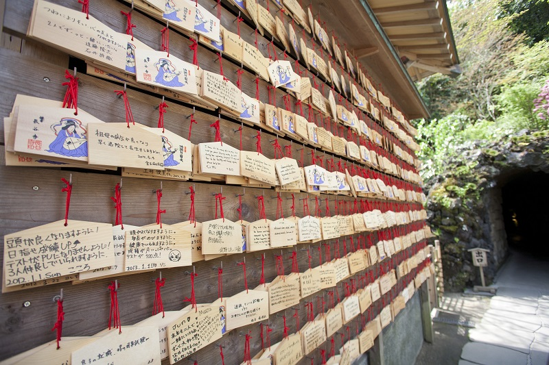 kamakura april 13 wooden prayer tablets hanging inside a hase kannon temple on april 13 2012 in kamakura kanagawa japan_HwGMugunzl