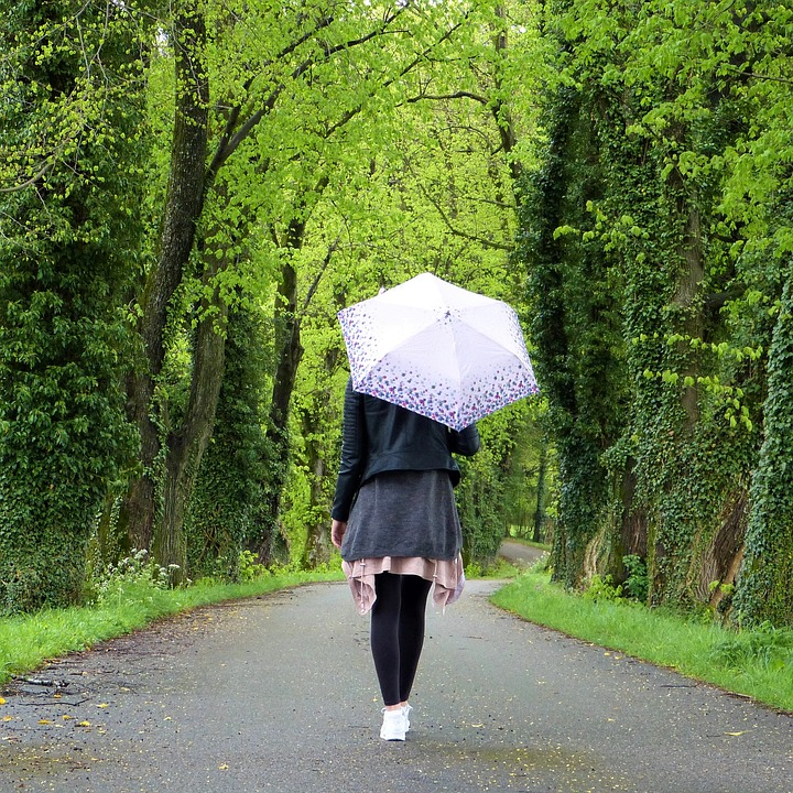 Umbrella Out Rain Young Woman In The Free Girl